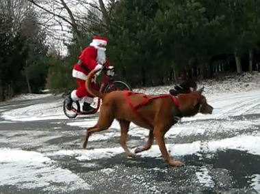Santa and Sam on footbike
