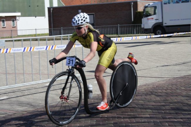 Here's Rosanne Reijne on one of the carbon bikes during a race in 2013.