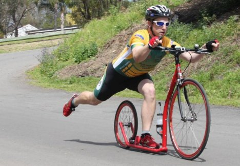 Optimum exercise: Michal Kozar: ''I get better exercise than riding a bike or running but it is less impact on your knees and joints. When you kick you have half of your body-weight on that leg instead of full weight when you run. Picture: Natalie Roberts.